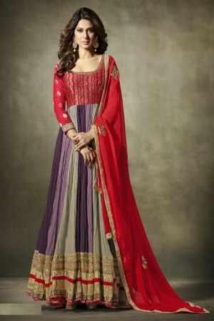 Jennifer Winget Purple Georgette&Jacquard Hand Crafted Embroidery with Antique Beads Neckline, Jaipuri Gotta and leather motifs with Glitter  Salwar Kameez