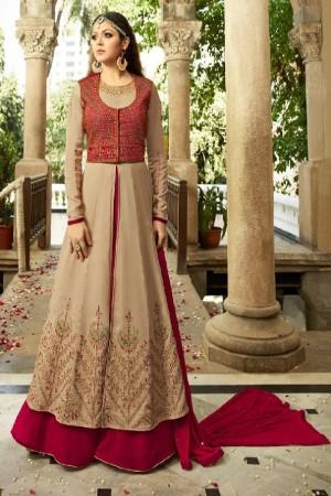 Drashti Dhami Chiku&Red Georgette with Banglori Silk Jacket Heavy Embroidery Thread, Zari and Diamond Work   Salwar Kameez