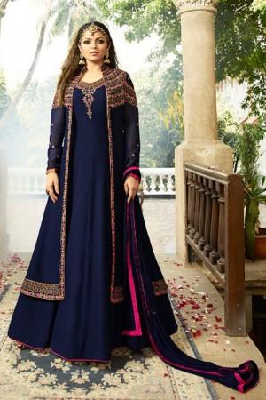 Drashti Dhami Blue Georgette with Georgette Jacket Heavy Embroidery Thread, Zari and Diamond Work   Salwar Kameez
