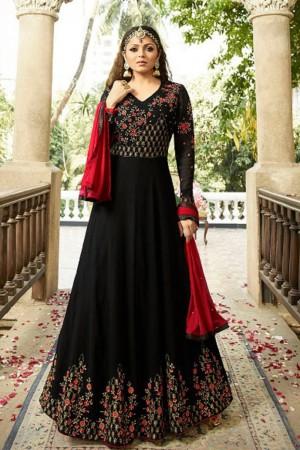 Drashti Dhami Black Georgette Heavy Embroidery Thread, Zari and Diamond Work   Salwar Kameez
