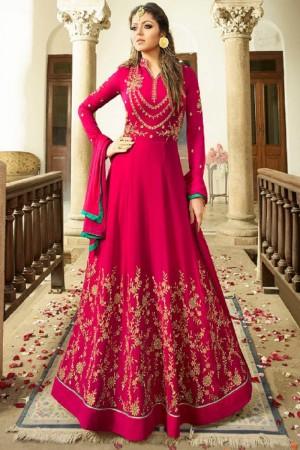 Drashti Dhami RaniPink Georgette Heavy Embroidery Thread, Zari and Diamond Work   Salwar Kameez