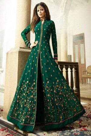 Drashti Dhami DarkGreen Georgette Heavy Embroidery Thread, Zari and Diamond Work   Salwar Kameez