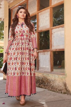 Urvashi Rautela Multi Color Lawn Cotton Print with Fancy Botton and Pompom  Kurti