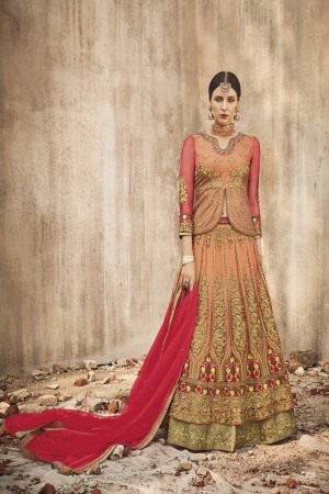 Impressive Orange Net Heavy Embroidery Thread, Zari Work with Diamond  Salwar Kameez