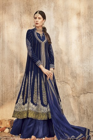 Stylish Blue Velvet Heavy Embroidery Thread, Zari Work with Diamond  Salwar Kameez