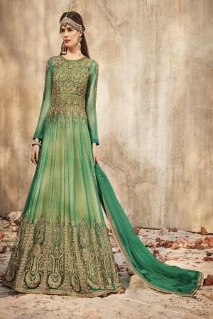Graceful Green Net Heavy Chain Embroidery Zari Work in Kali Style with Diamond Work  Salwar Kameez