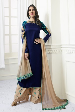 Sophie Chaudhary Blue Modal Satin Heavy Embroidery Top with Embroidered Plazzo Bottom  Salwar Kameez