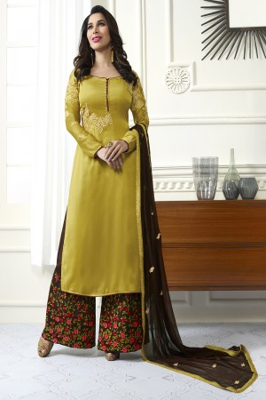 Sophie Chaudhary Mustard Yellow Modal Satin Heavy Embroidery Top with Embroidered Plazzo Bottom  Salwar Kameez