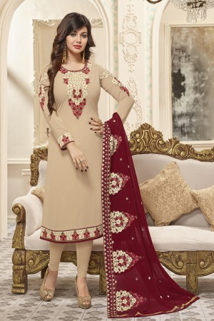 Ayesha Takia Beige Georgette Heavy Embroidery on Neck and Sleeve with Embroidery Dupatta  Salwar Kameez