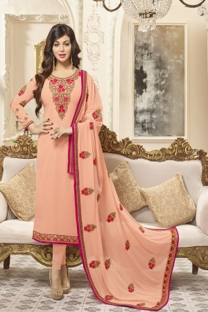 Ayesha Takia Peach Georgette Heavy Embroidery on Neck and Sleeve with Embroidery Dupatta  Salwar Kameez