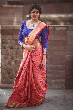 Attractive Salmon Pink Weaving Patola Silk Saree