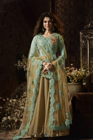 Jennifer Winget Chiku&Pista Green Banglori&Lycra 3D Flower Patch with Coding Embroidery Work on Dupatta  Salwar Kameez