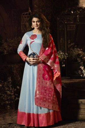 Jennifer Winget Light Grey Pure Chanderi Silk Zari and resham Embroidery Work with Jacquard Dupatta  Salwar Kameez