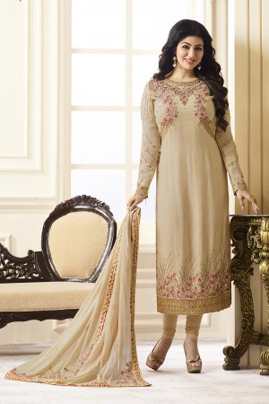 Ayesha Takia Cream Georgette Heavy Embroidery on Neck and Sleeve with Embroidery Dupatta  Salwar Kameez