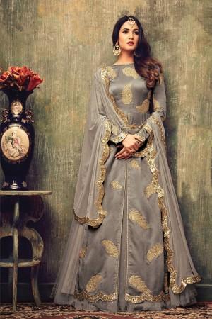 Delightful Warm Grey Net Heavy Embroidery on Neck and Sleeve Semi  Stitch Salwar Kameez