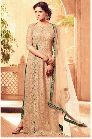 Charming Soloman Net Heavy Embroidery on Neck and Sleeve with Embroidery Bottom Semi  Stitch Salwar Kameez