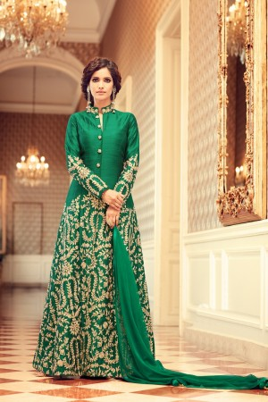 Stylish Green Taffeta Silk Heavy Embroidery on Neck and Sleeve with Diamond Work   Salwar Kameez