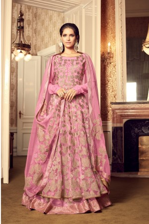 Peppy Pink Net Heavy Embroidery on Neck and Sleeve with Diamond Work   Salwar Kameez