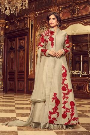 Fab Chiku Taffeta Silk Heavy Embroidery on Neck and Sleeve with Diamond Work   Salwar Kameez