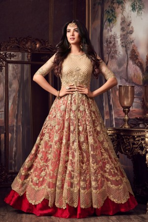 Mesmerising Cream & Red Net Thread & Zari Embroidery with Diamond Work  Anarkali Suit