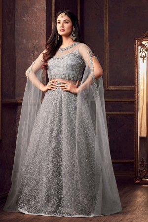 Ethereal Grey Net Thread & Zari Embroidery with Diamond Work  Anarkali Suit
