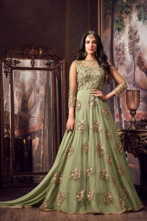 Auspicious Mehandi Net Thread & Zari Embroidery with Diamond Work  Anarkali Suit