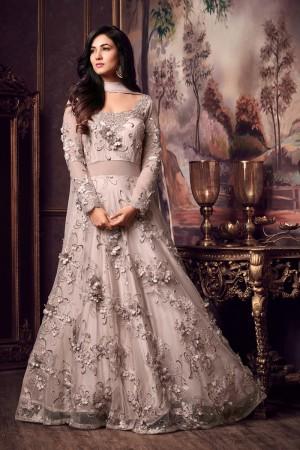 Amazing Grey Net Thread & Zari Embroidery with Diamond Work  Anarkali Suit