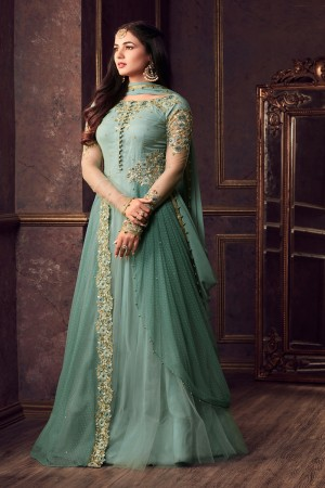 Applaudable Light rama Net Thread & Zari Embroidery with Diamond Work  Anarkali Suit