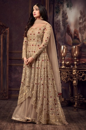Wonderful Beige Net Thread & Zari Embroidery with Diamond Work  Anarkali Suit