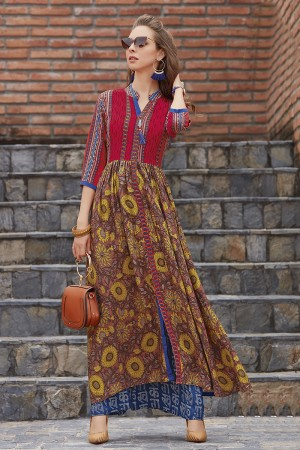 Beauteous Lilots Multi Color Rayon Print with Fancy Botton and Pompom  Kurti
