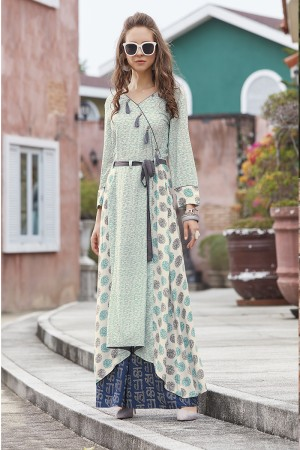 Delightful Lilots Multi Color Rayon Print with Fancy Botton and Pompom  Kurti