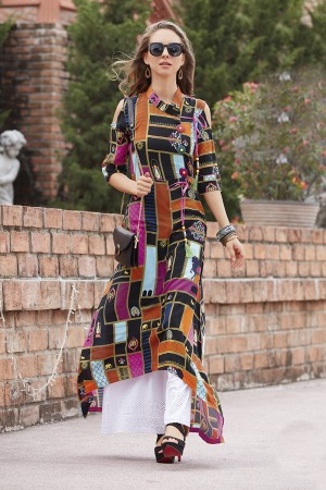 Charming Lilots Multi Color Rayon Print with Fancy Botton and Pompom  Kurti