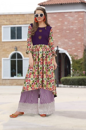 Awesome Lilots Multi Color Rayon Print with Fancy Botton and Pompom  Kurti