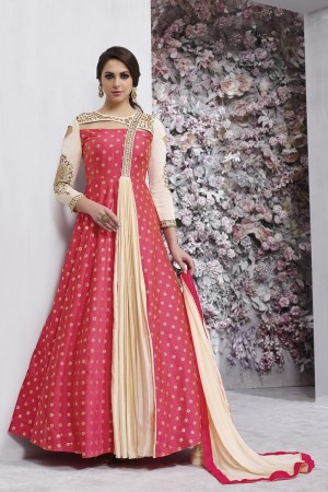 Stupendous Pink&Cream Tafetta Silk Heavy Embroidery Anarkali Salwar Suit