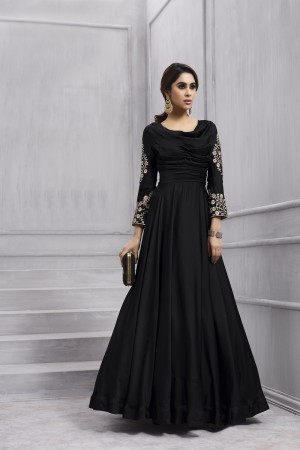 Blissful Black Tafetta Silk Heavy Embroidery Anarkali Salwar Suit