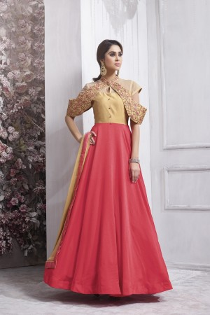 Marvelous Chiku&Pink Tafetta Silk Heavy Embroidery Anarkali Salwar Suit