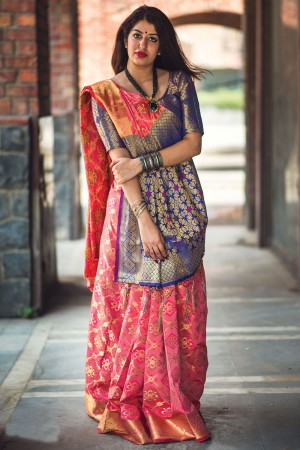 Ambitious Salmon Pink Weaving Patola Silk Saree