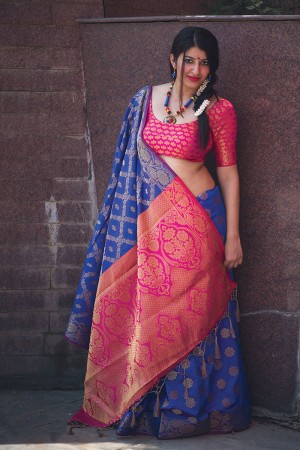 Classic Blue Weaving Patola Silk Saree