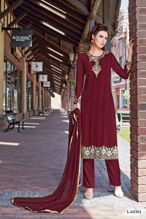 Creative Maroon Georgette Heavy Embroidery On Neck and Sleeve Dress Material