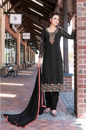 Enticing Black Georgette Heavy Embroidery On Neck and Sleeve Dress Material