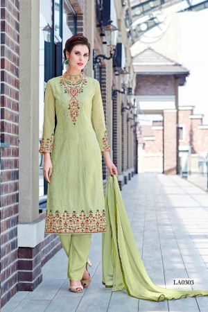 Striking Light Green Georgette Heavy Embroidery On Neck and Sleeve Dress Material