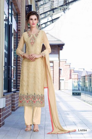 Enchanting Beige Georgette Heavy Embroidery On Neck and Sleeve Dress Material