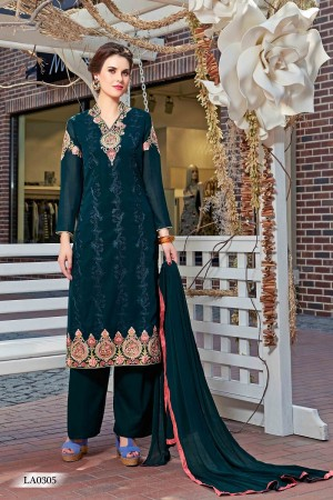 Mesmerising Dark Green Georgette Heavy Embroidery On Neck and Sleeve Dress Material