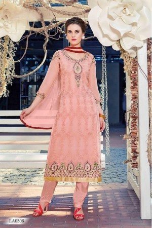 Ethereal Peach Georgette Heavy Embroidery On Neck and Sleeve Dress Material