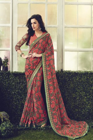 Stupendous Maronish Red Viscoss Creap Sequnce Embroidery Lace Border with Embroidered Blouse Saree