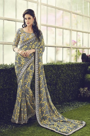 Blissful Grey & Yellow Viscoss Creap Sequnce and Coding Embroidery Lace Border with Embroidery Blouse Saree