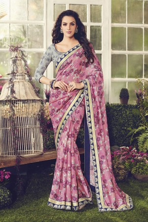 Sparkling pink Chanderi Cotton Sequnce Embroidery Lace Border with Embroidery Blouse Saree