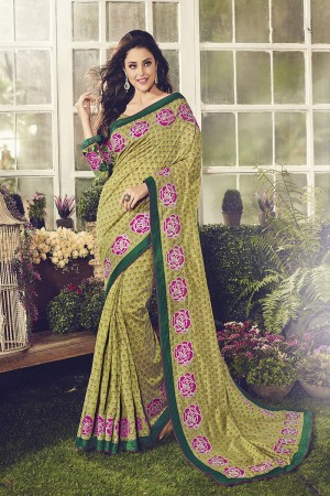 Charismatic Green Chanderi Cotton Thread Embroidery Lace Border with Embroidery Blouse Saree