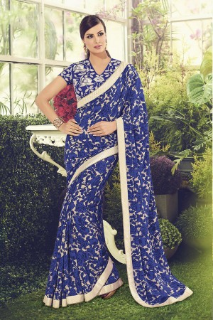 Graceful Blue Viscoss Creap Zari Readymade Lace Border with Embroidery Blouse Saree