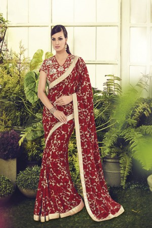 Bewitching Red Viscoss Creap Zari Readymade Lace Border with Embroidery Blouse Saree
